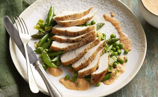 Seared Chicken Breast with Semi-dried Tomato Cream and Spring Vegies